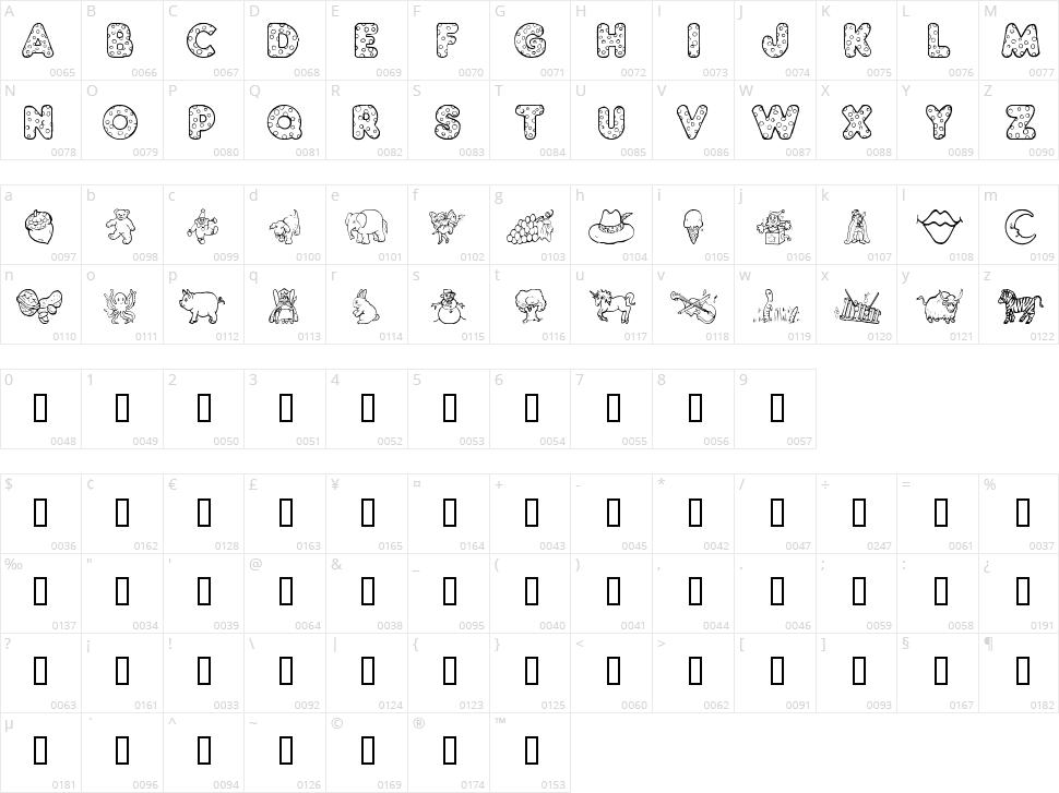 KG ABCs Dingbats Character Map