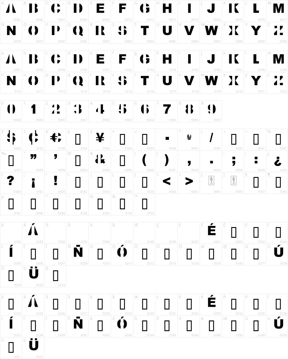 Kill All Fonts Character Map