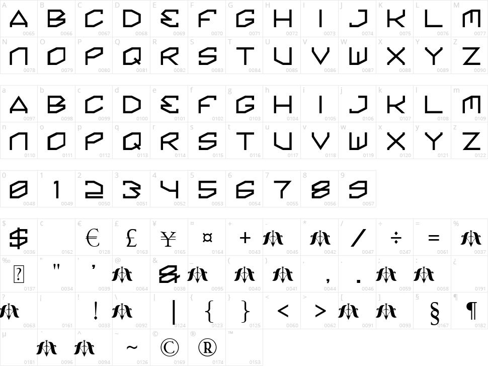 Kinine Alpha Character Map