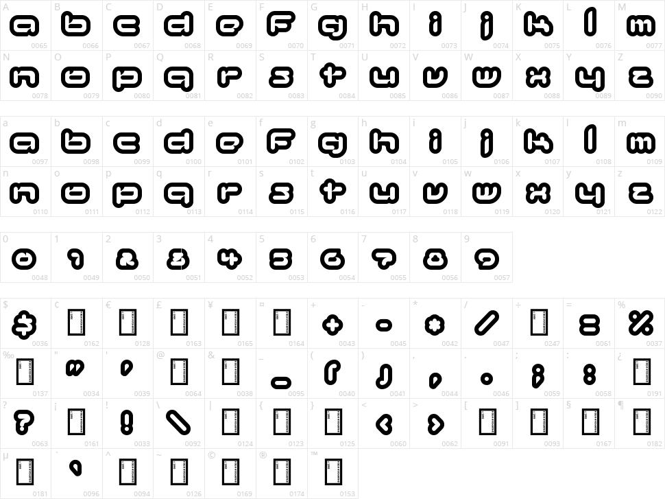 Kinkimono Character Map
