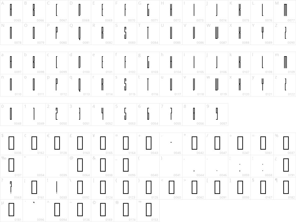 Knifer Character Map