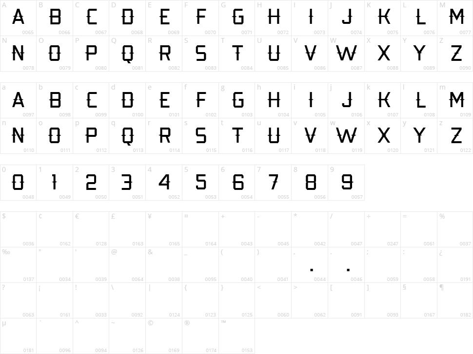 Kobarapi Character Map
