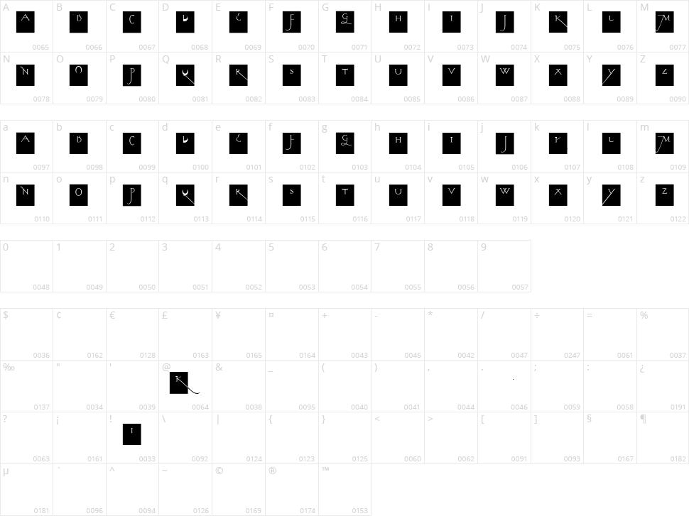 Kochs Long Caps Squares Character Map