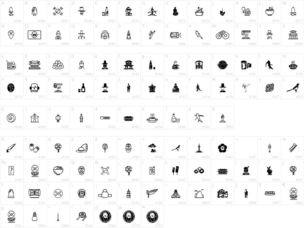 Korean Icons Character Map