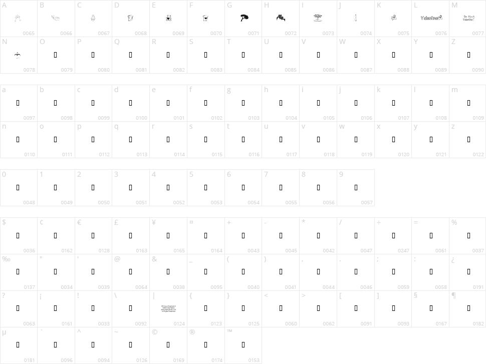 KR Cuori Divertenti 8 Character Map