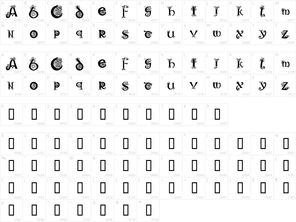 KR Keltic One Character Map
