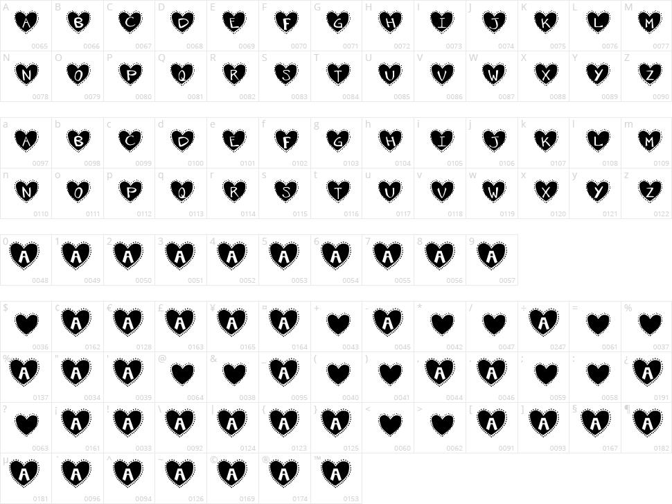 Krishart Character Map