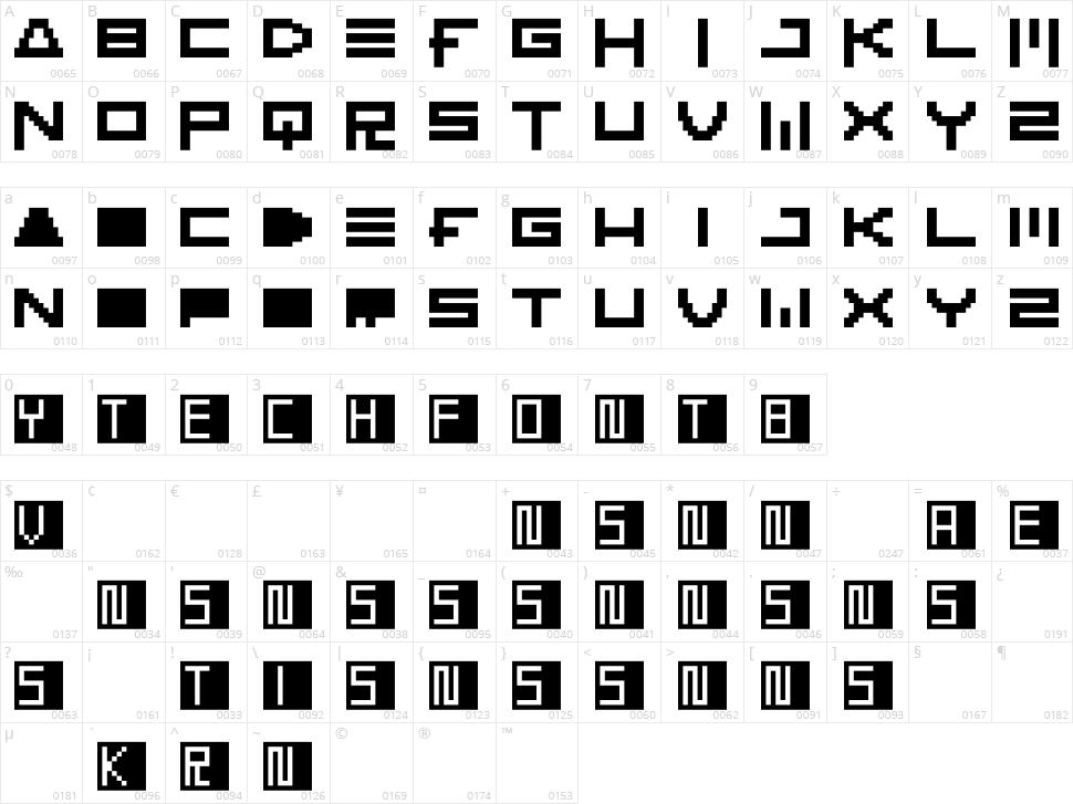KTech Character Map
