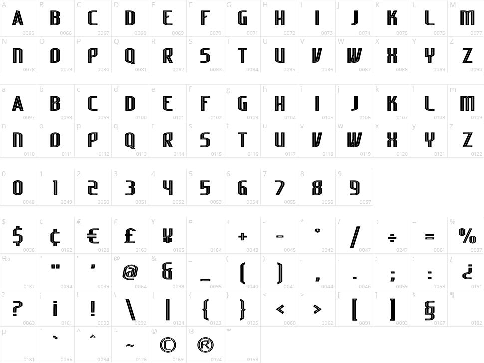 Lakisa Stencil Character Map