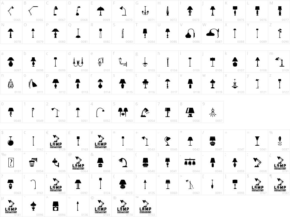 Lamp Character Map