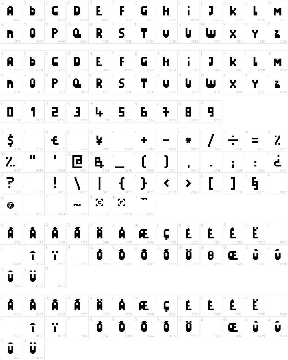 LazySunday Character Map