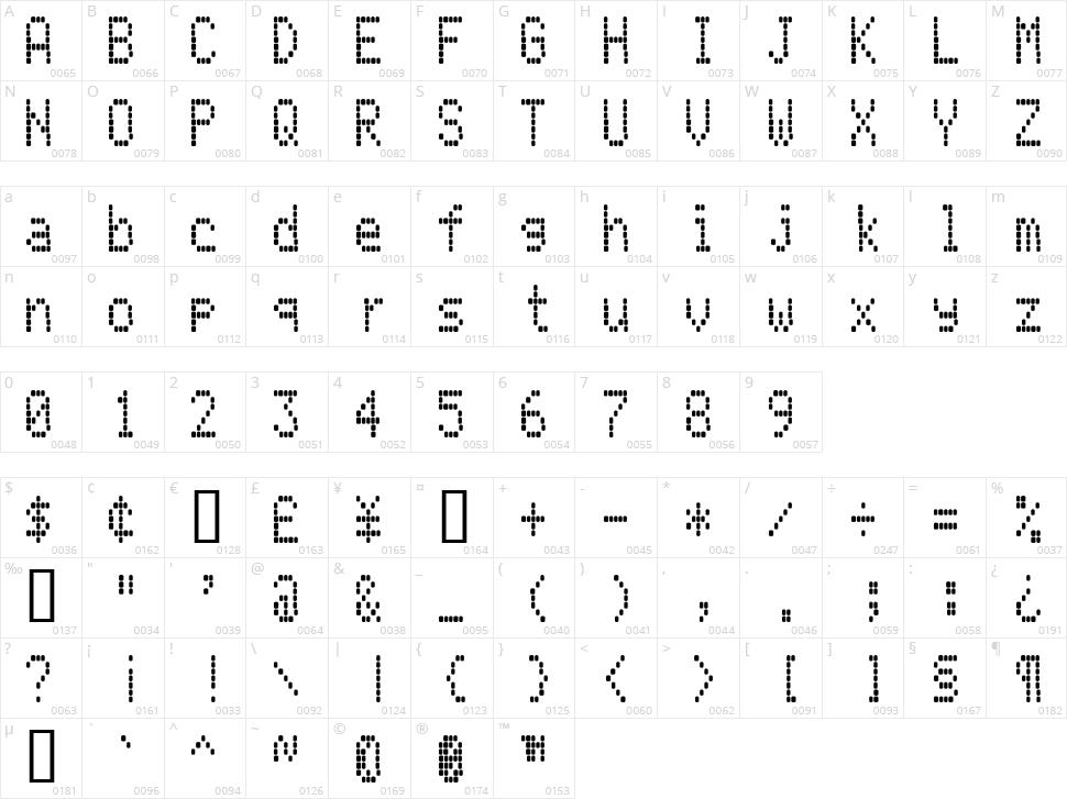 LCD AT&T Phone Character Map