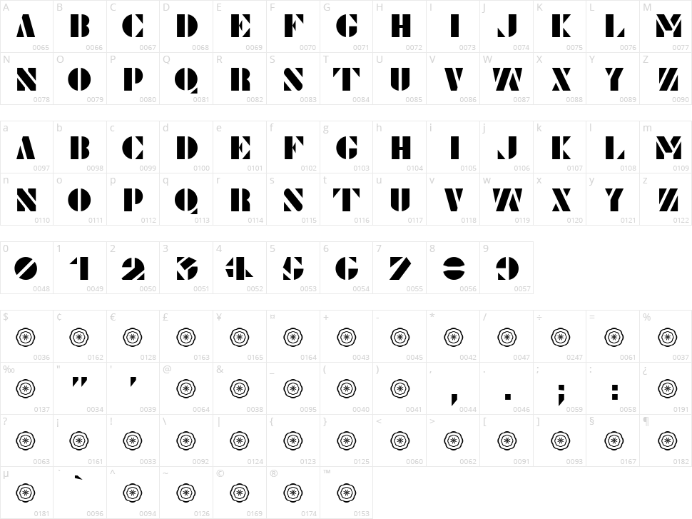 Le Pochoir Character Map