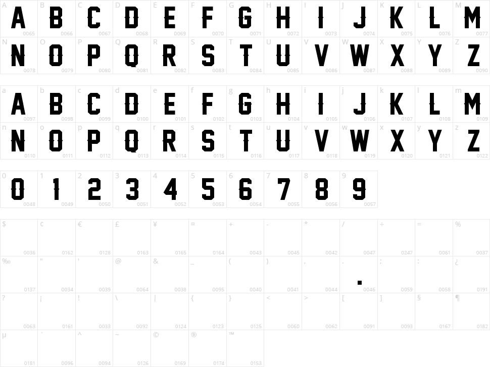 Legend M54 Character Map