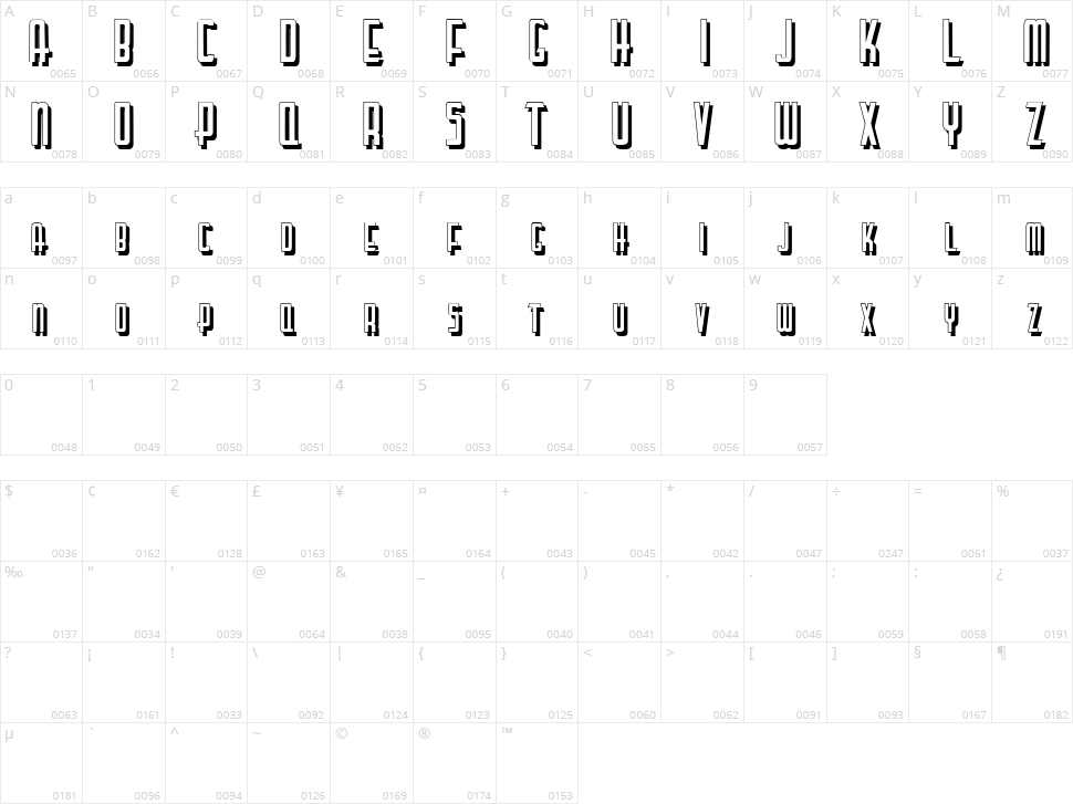 Lettering Deco Shadow Character Map