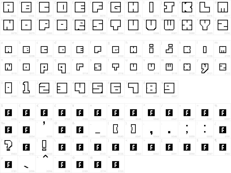 Lettres cubiques Character Map