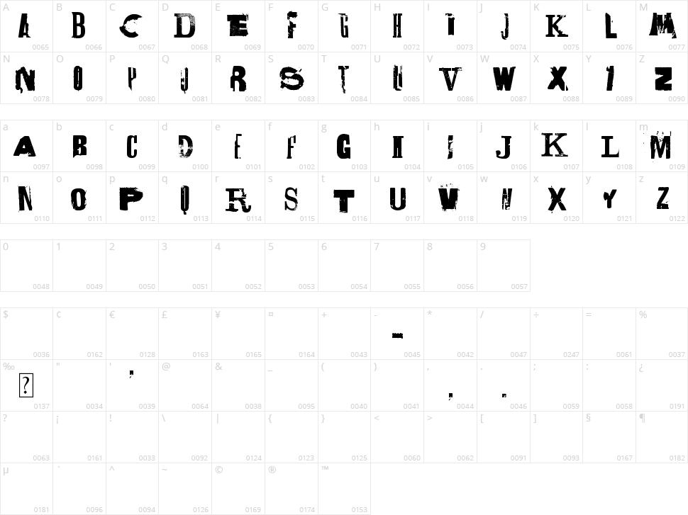 Lettrisme Character Map