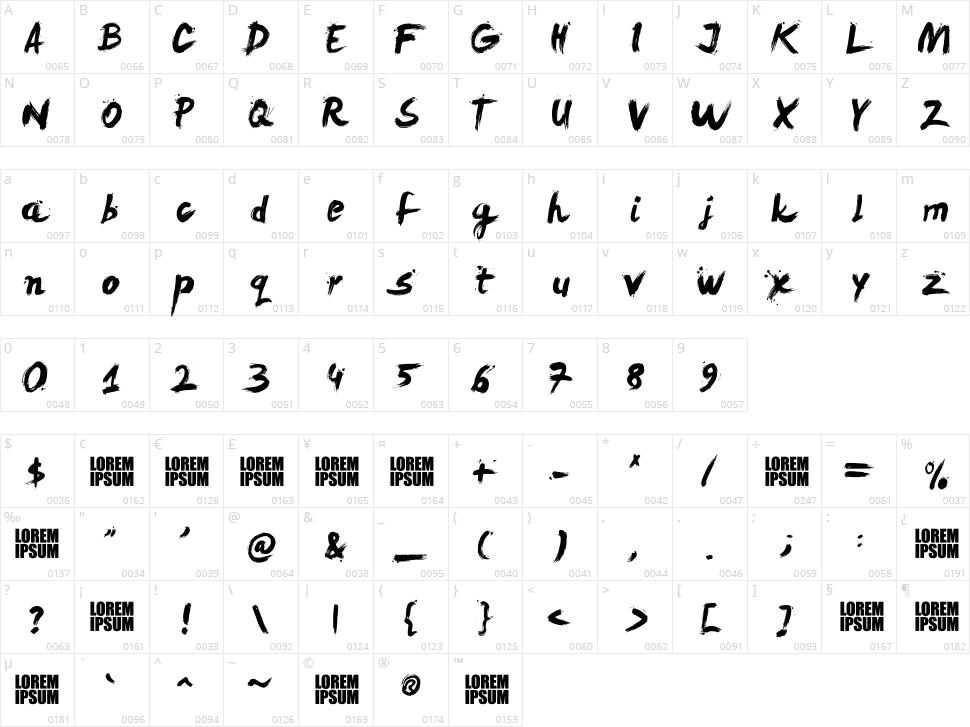 Levi ReBrushed Character Map