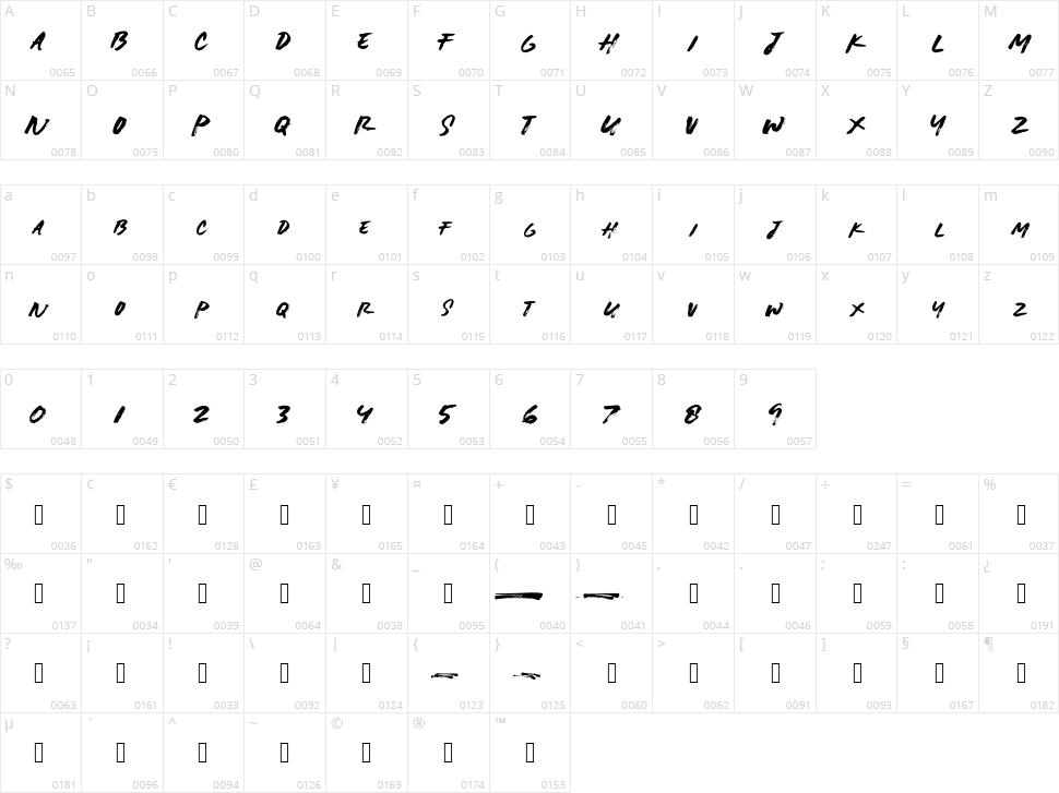 Lightbrush Character Map