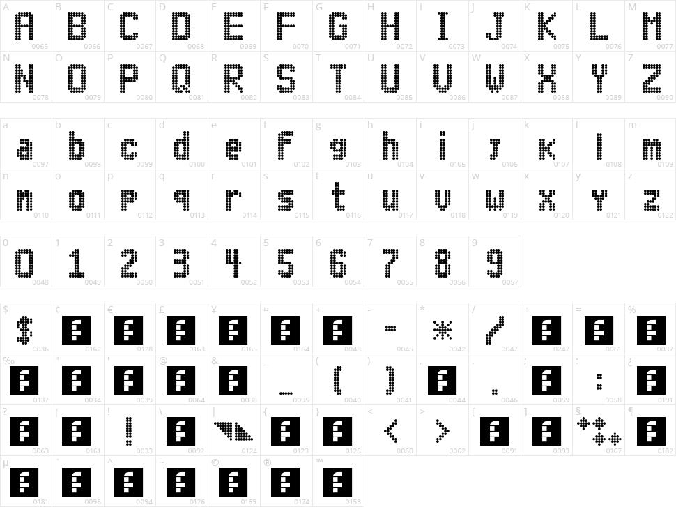 Lightdot 11x6 Character Map