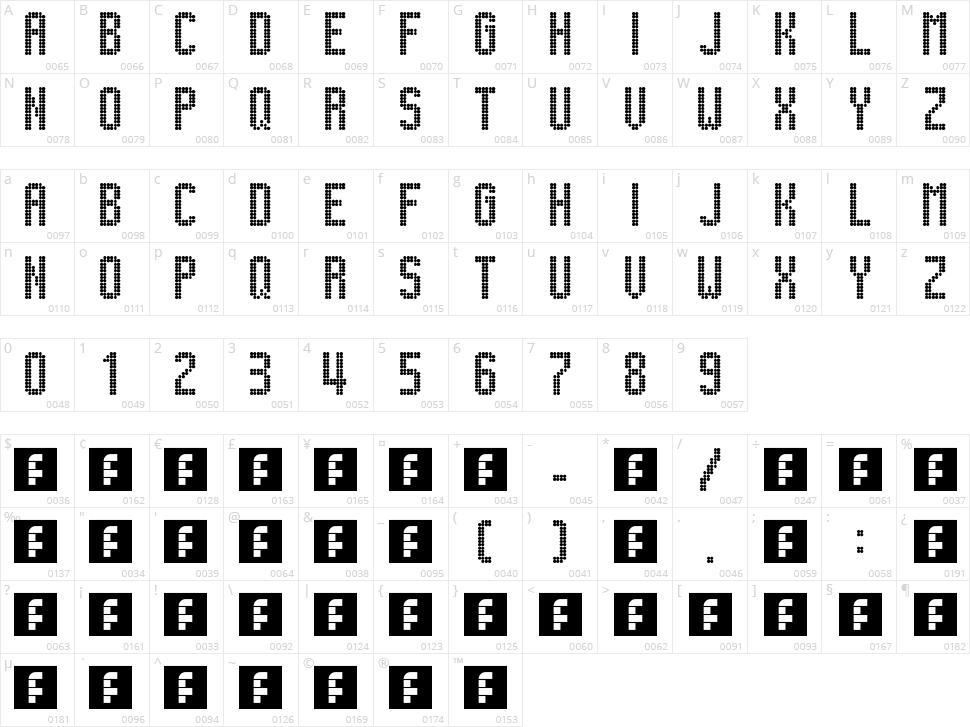 Lightdot 13x6 Character Map