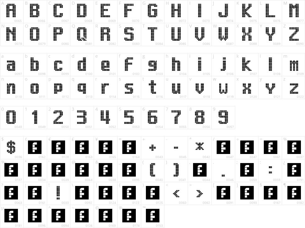 Lightdot 13x9 Character Map