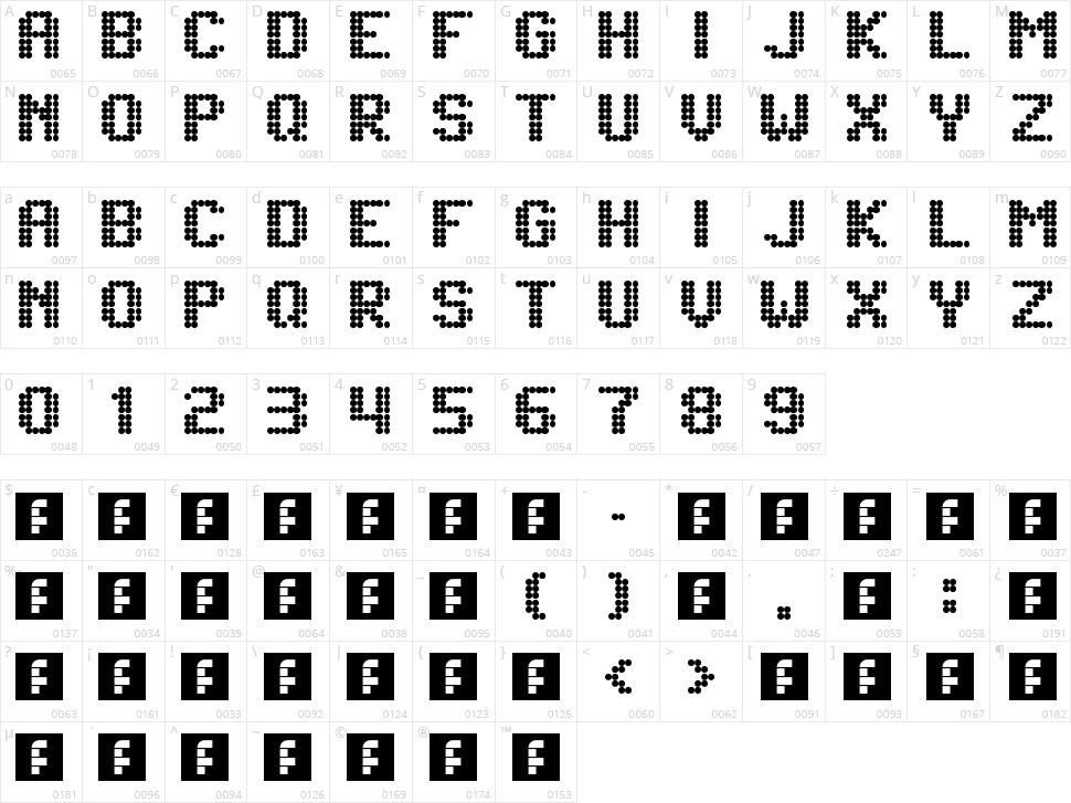 Lightdot 7x6 Character Map