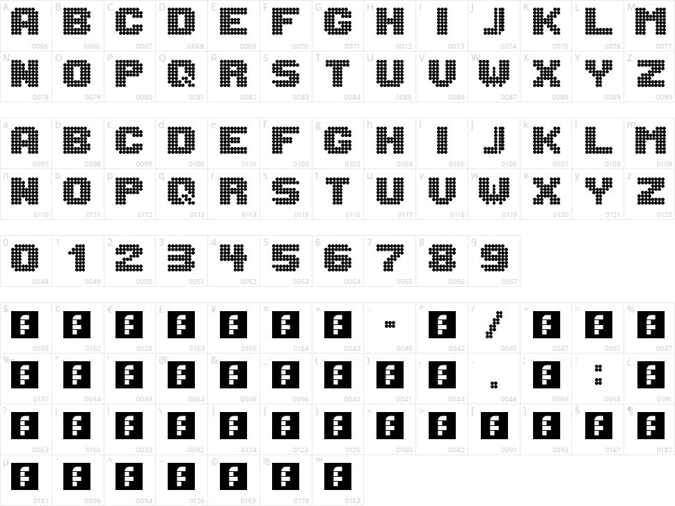 Lightdot 8x8 Character Map