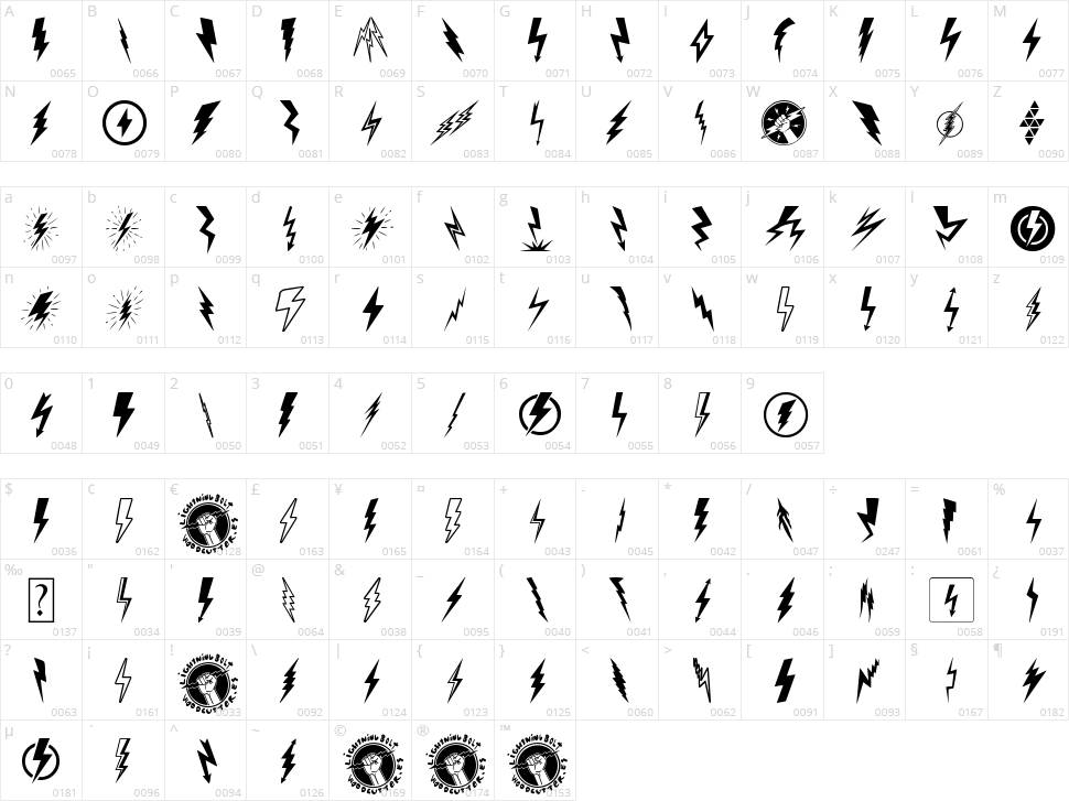 Lightning Bolt Character Map