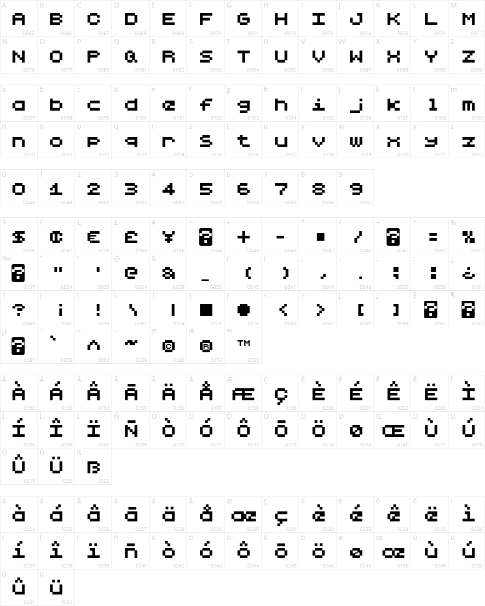 Lilliput Steps Character Map