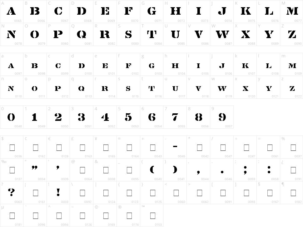 Lintsec Character Map