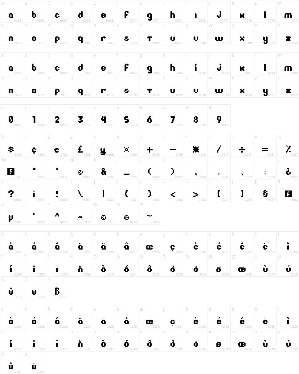 Litebulb 8-bit Character Map