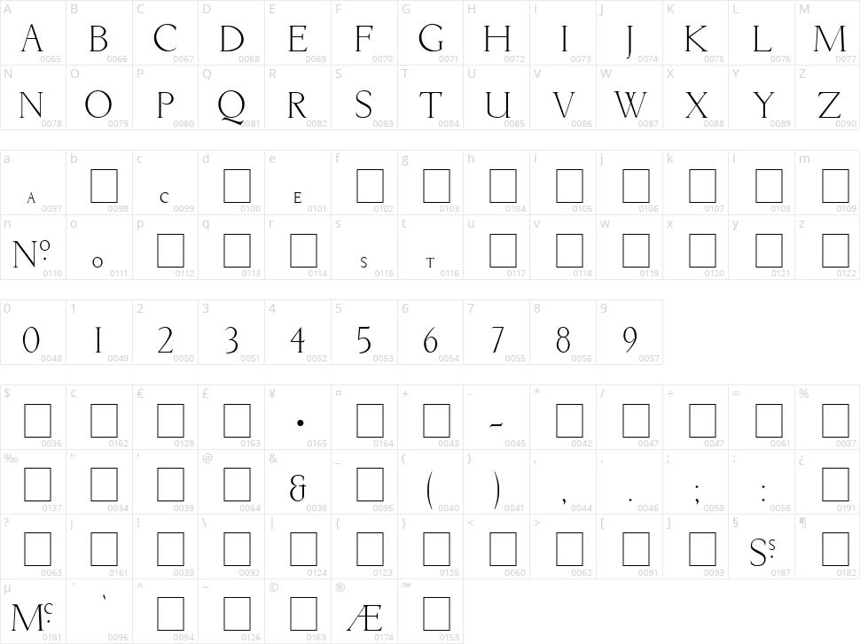 Livia Medium Character Map