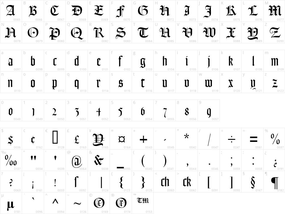 Lohengrin Character Map