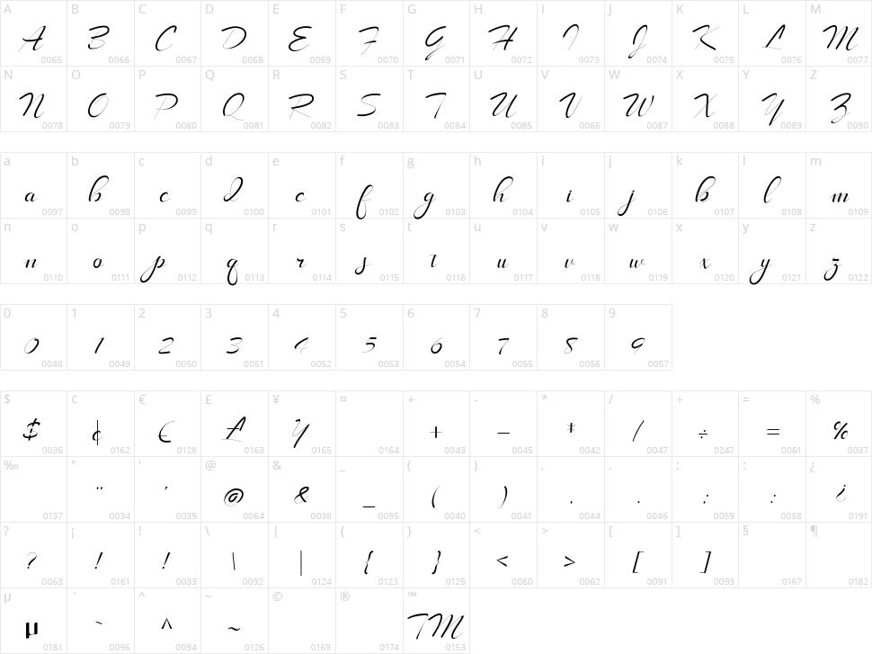 LongShine Script Character Map