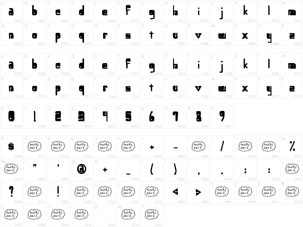 Lower-Optic Fibercase Character Map