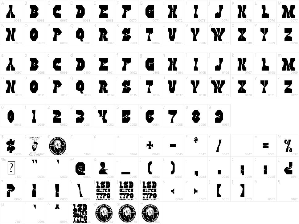 LSD Glitch Character Map