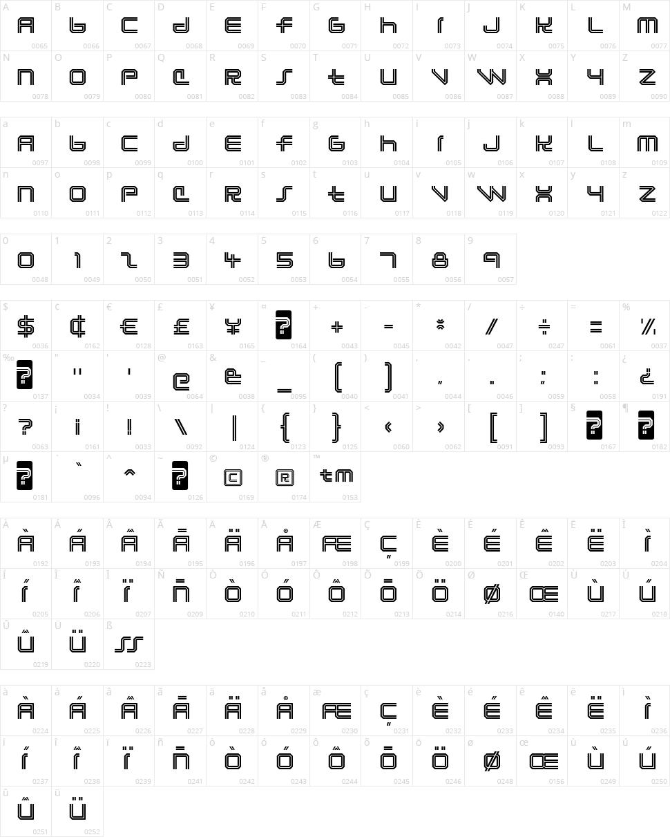 Lunasol Character Map