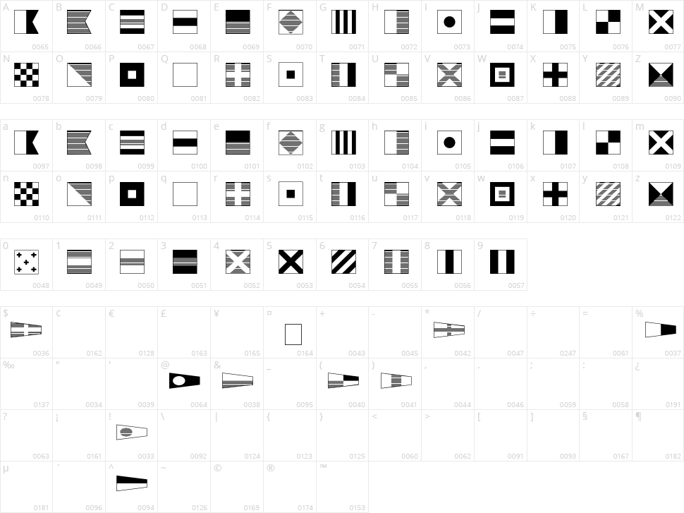 Maritime Flags Character Map