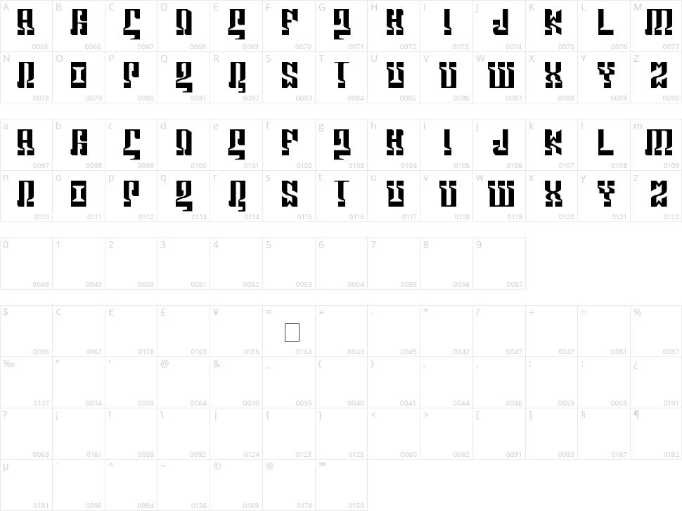Marshosbn Character Map