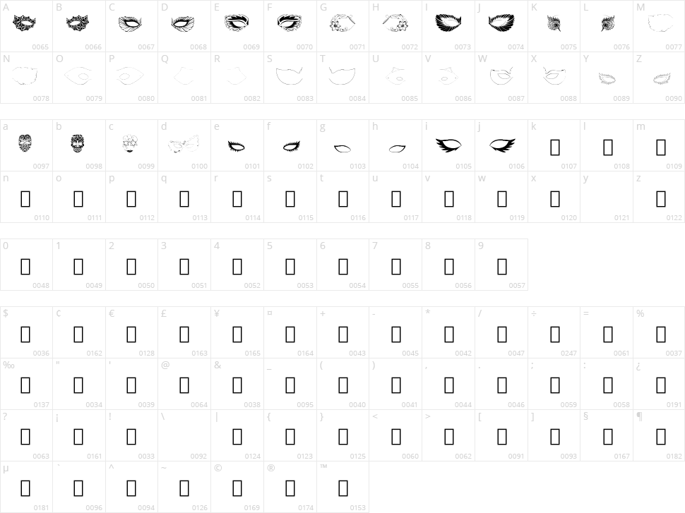 Maskby EBO Character Map