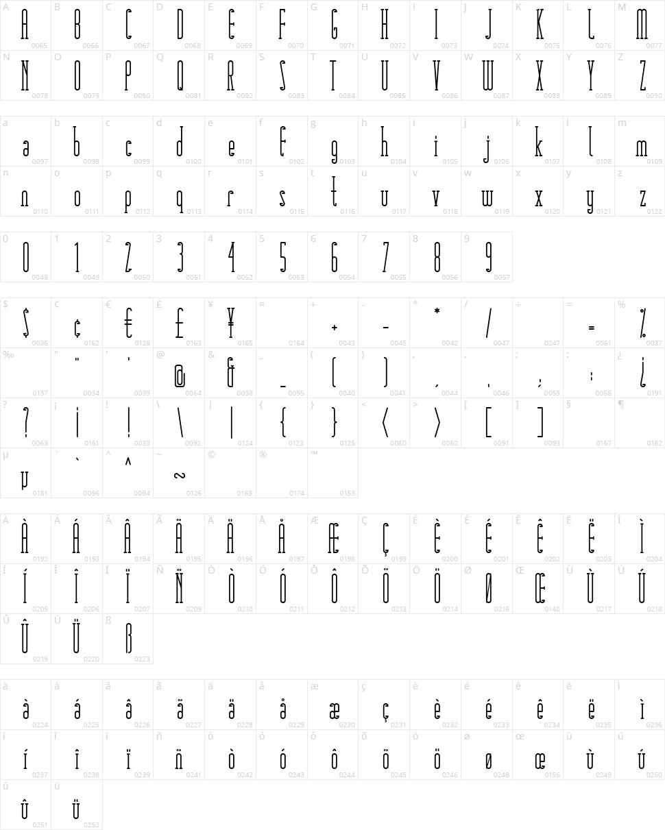Matchbook Serif Character Map