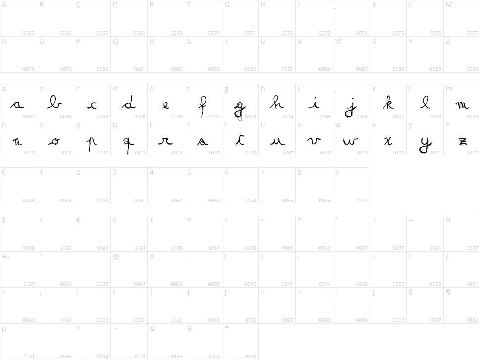Matildas Grade School Hand Script Character Map