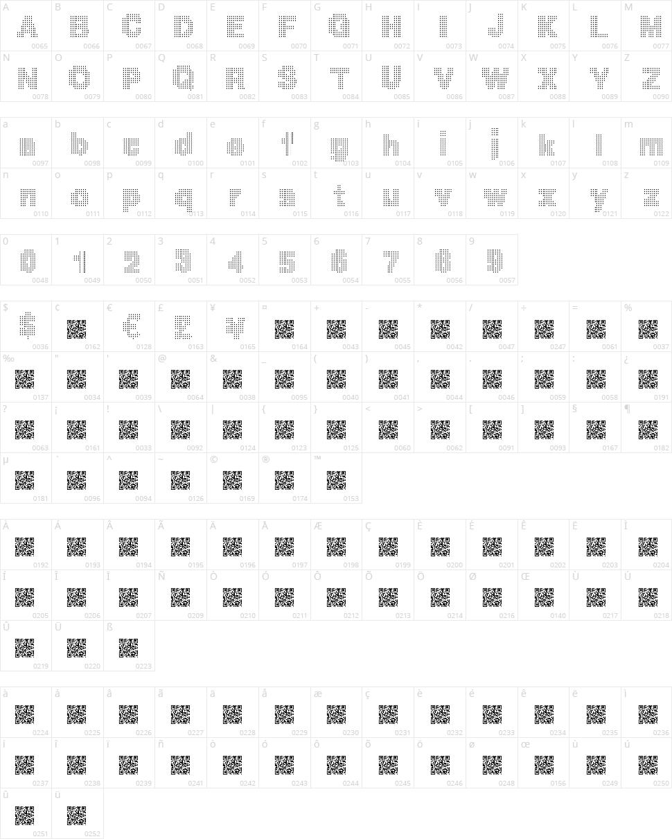 Mega Bits Character Map