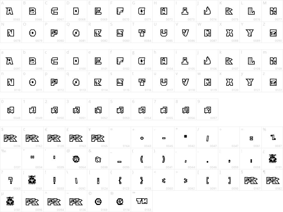Mekano Character Map