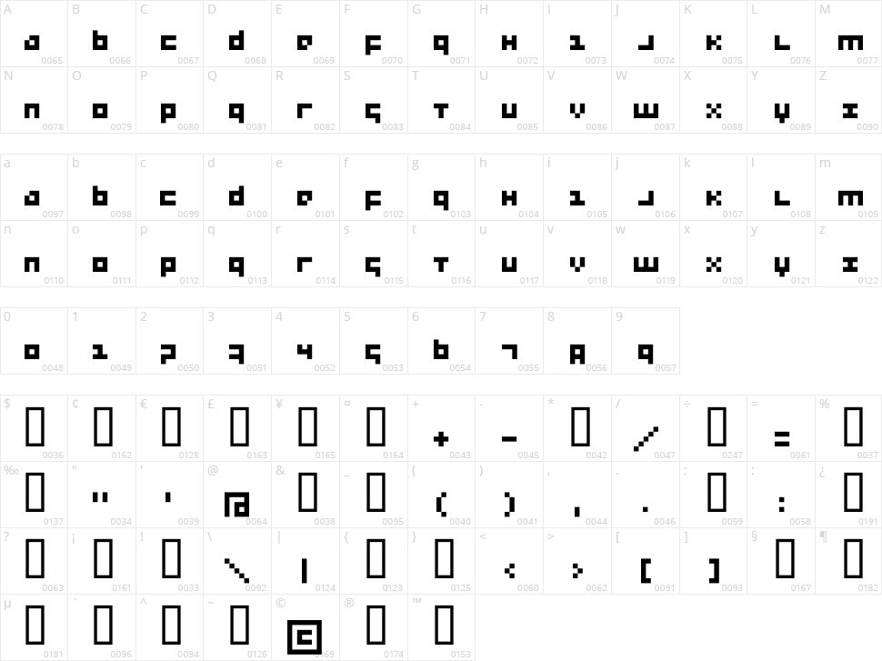 Menee Character Map