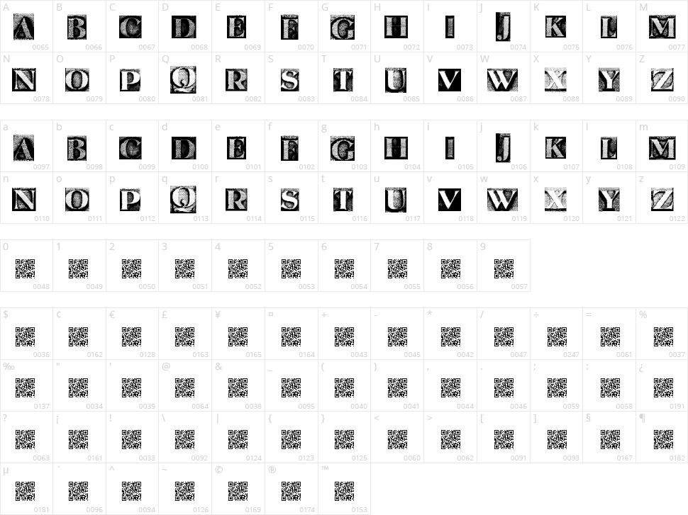 Metal Block Serif Character Map