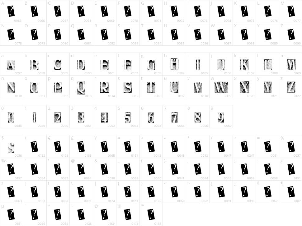 Metal Block Three Character Map