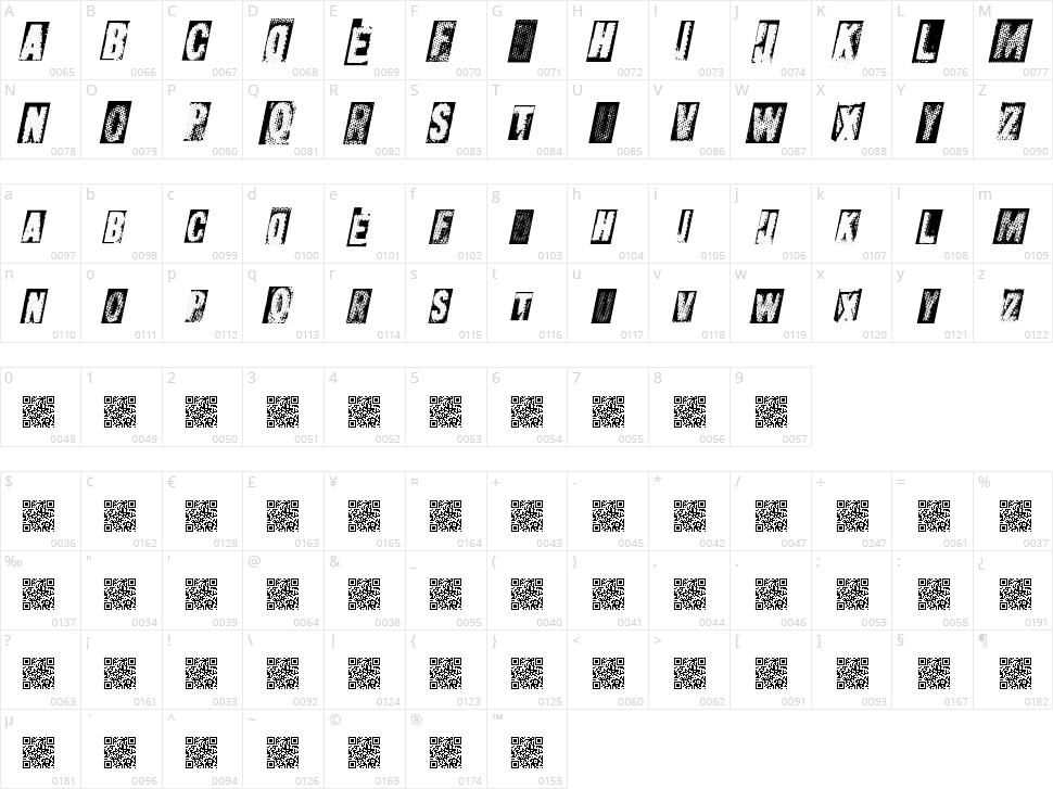 Metal Block Ultra Character Map