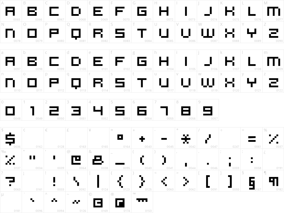 Micro N55 Character Map